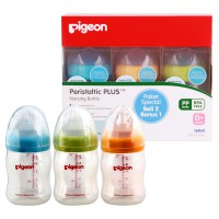 BUY 2 GET 1 FREE - Pigeon Botol PP Wide Neck 160 Ml W/ P-Plus 'Nipple'