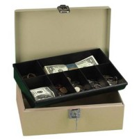 [poledit] Lock n Latch Steel Cash Box w/7 Compartments Key Lock Pebble Beige (R1)/1942111