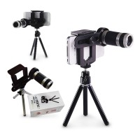 Lensa Tele 8X Optical Zoom Universal Smartphone Holder & Tripod