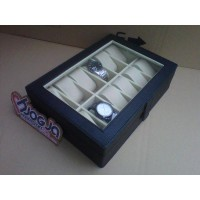 ELEGAN BLACK INNER CREAM WATCH BOX ORGANIZER | BOX JAM | KOTAK JAM ISI 12