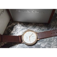 Alexandre Christie AC 2556 Rose Gold Leather Brown Ladies Original