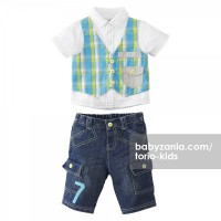 Torio Aquatic Animals Plaid Vest Denim Set