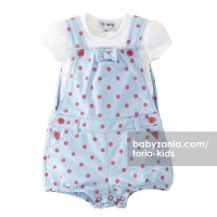 Torio Blue Polka Dungaree Set
