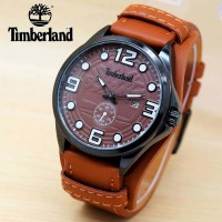 Jam Tangan Pria / Cowok Timberland Chrono Detik Leather Brown