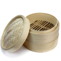 [globalbuy] 2 Tier Bamboo Steamer Set with Two Layers and One Lid for Home Kitchen Cookwar/3246515