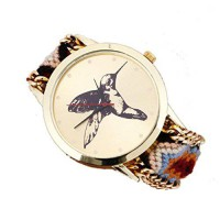 [poledit] Tonsee Women Knitted Braided Rope Band Bracelet Cuckoo Pattern Wrist Watch D (T1/12278550