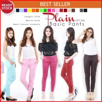 Basic Cotton Stretch Pants Celana Wanita Bahan Katun Anti Begah Murah
