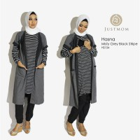 Just Mom Tunik menyusui - Hasna - HS104 Black Stripe