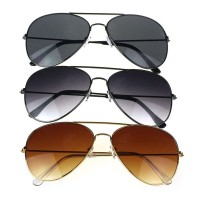 Unisex Men Women Classic Metal Designer Sunglasses + Case