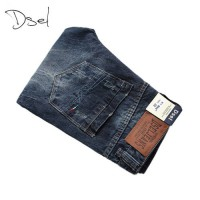 [globalbuy] Famous Logo Dsel Brand Jeans Men Ripped Trousers Slim Denim Stripe Jeans High /4061742