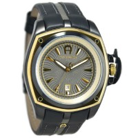 Aigner A18124 Lucca Jam Tangan Pria Leather Strap - Hitam Gold