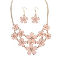 Set Kalung & Anting flower decorated simple design K0A7DAAL pink