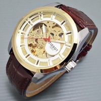 Jam Tangan Pria / Cowok Tissot Skeleton 1853 Leather Brown Kombinasi