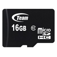 Memory Card Team Micro SD HC Class 10 - 16GB Lifetime Waranty Speed Up to 133x R:20 W:14 Adapter