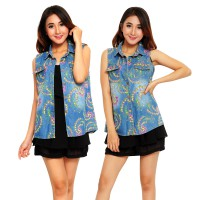Jfashion Rompi Denim Trendi Printing