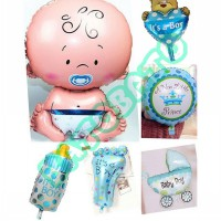 Balon Foil Baby Boy Shower Paket Murah 6 In 1