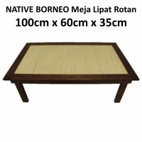 Meja Lipat/Folding Table (Kayu & Lampit Rotan Saburina)
