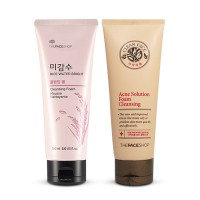 The Face Shop - Acne Solution Foam Cleansing/Rice Water Bright Cleansing Foam