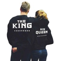 Mens THE KING Letter Print Sport Top Blouse Couple Long Sleeve Sweater