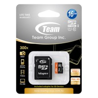 Memory Card Team Micro SD UHS1 16GB Speed Up to 300x Adapter Lifetime Waranty