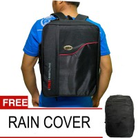Polo National Essetial Pack 3in1 Tas Ransel l BackpackFree Rain Cover - Hitam