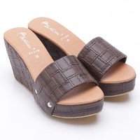 Dr.Kevin Leather Wedges Sandals 27319 Brown
