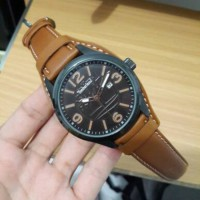 Jam Tangan Pria / Cowok Timberland Casual Leather Brown Ring Black