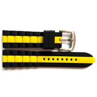 [macyskorea] Sanwa 22mm Black Yellow Mens Genuine Silicone Rubber Diver Sport Watch Strap/12306148