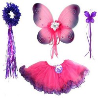 [holiczone] Fairytale Play 4 Pc Hot Pink & Purple Fairy Set with Wings, Rosebud Wand and H/1852558