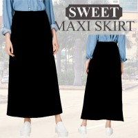 NEW! Branded Black Maxi Skirt Un*q*o_1 warna_Premium Quality_Good Material_Rok Panjang / Maxi Skirt / Casual Skirt