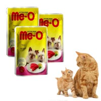 3pcs CP Petfood Me-O Pouch Kitten Tuna & Sardine In Jelly Cat Food 80 gr
