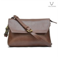 VOILA LEATHER / HELSA BROWN / CLUTCH KULIT ASLI (DIJAMIN)