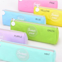 Sweet Color Canvas Pencil Case / Kotak Pinsil / Tempat Pensil Lucu Murah Imut Unik