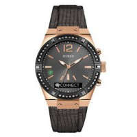 GUESS CONNECT Smartwatch in Gunmetal Leather 41mm (T1)/12883002