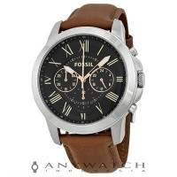 Fossil FS4813 Grant Chronograph Black Dial Brown Leather Strap Watch