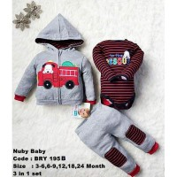 Nuby Boy Setelan Jaket Jumper Fire Fighter Set 3 In 1