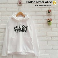 BOSTON TERIER WHITE / BOSTON TERRIER PUTIH / BABYTERRY HOODIE SWEATER