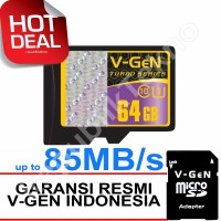 Micro SD VGEN 64GB Class 10 V-Gen microSD HC 64 GB Turbo Adapter