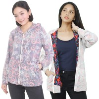 The-Fahrenheit Florance Printed Inside Out Hoodie Jacket for Women