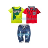 Baju anak cowok / Gw Set 3in1 Jeans Red & Green