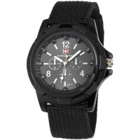Gemius Army Jam Tangan Pria Military Analog Sport Canvas Belt Quartz Men Wrist Watch - Black