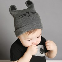 Baby Cat Beanie - Grey