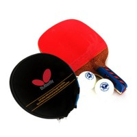 [Butterfly] NAKAMA LD Table Tennis Racket Paddle (Penhold Hand Grip) + Paddle Case + 2 Balls