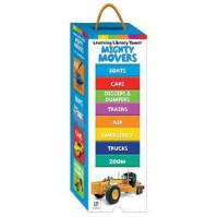 [HelloPandaBooks] Learning Library Tower MIGHTY MOVERS (Blue) includes 8 Board Books