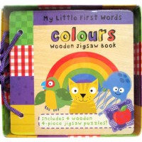 [HelloPandaBooks] My Little First Words COLOURS Wooden Jigsaw Book includes 4 wooden 4-piece jigsaw