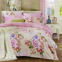 Sleep Buddy Sprei dan Bed Cover Pink Rossa King Size Sutra Tencel