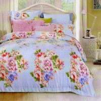 Sleep Buddy Sprei dan Bed Cover Blue Rossa Queen Size Sutra Tencel