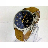 TaG Heuer Space X Leather Silver Jarum yellow