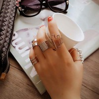 Rings Pearl Geometry Hollow Out - Silver