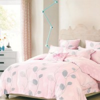 Sleep Buddy Sprei dan Bed Cover Pink Leaf Queen Size Sutra Tencel